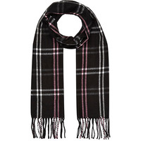 River Island Girls black and pink plaid scarf
