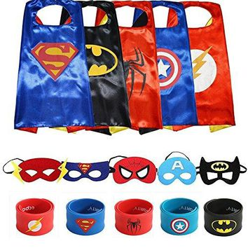 Superheros Cape and Mask Costumes Set Matching Wristbands For Kids (5 Pack)
