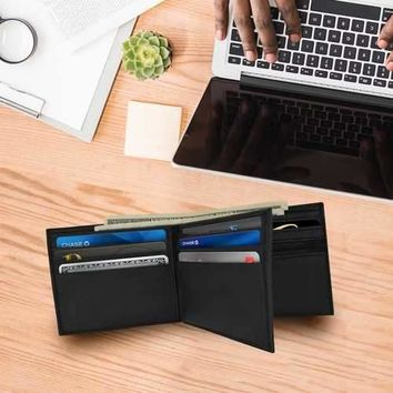 Men's Smooth Leather Bifold ID Wallet
