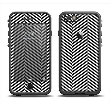 The Black and White Opposite Stripes Apple iPhone 6 LifeProof Fre Case Skin Set