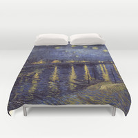 Vincent Van Gogh Starry Night Over The Rhone Duvet Cover by Art Gallery