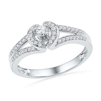 10kt White Gold Women's Round Diamond Heart Love Promise Bridal Ring 1/4 Cttw - FREE Shipping (US/CAN)