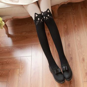 2017   Beautiful Design Women Silk Stockings Pantyhose Ribbed Over Cute Cat Rabbit Sexy Slim Tights Fashion Gifts for Female