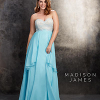 Aqua Plus Size Strapless Chiffon A-line Dress