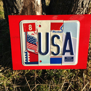 USA Custom Recycled LICENSE PLATE Art Sign