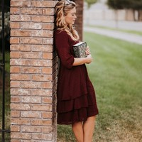Selena Dress in Burgundy - JessaKae