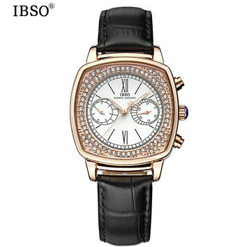 IBSO Complete Calendar Woman Quartz-watch Fashion Week Display Multifunction Womens Watch Genuine Leather Strap Relojes De Mujer