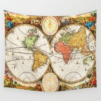 Map of the World in two Hemispheres Wall Tapestry by GreatArtGallery