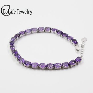 Classic 100%natural amethyst bracelet made by 925 Solid Sterling Silver Vintage crystal bracelet for woman evening party jewelry
