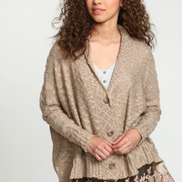 TAUPE LACE CHUNKY KNIT CARDIGAN