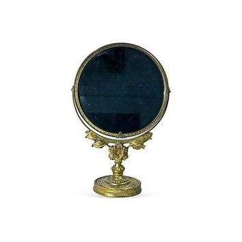 Pre-owned Vintage French Baroque Brass Floral Vanity Mirror