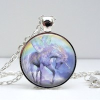 Unicorn Rainbow Dome Pendant Necklace - Unicorn & Rainbow Art
