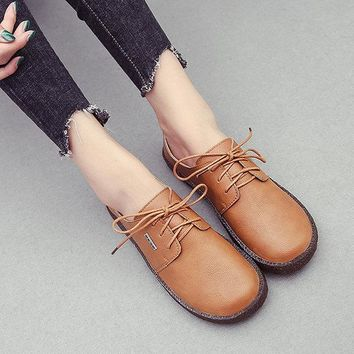 Lace Up Retro Soft Sole Casual Shoes