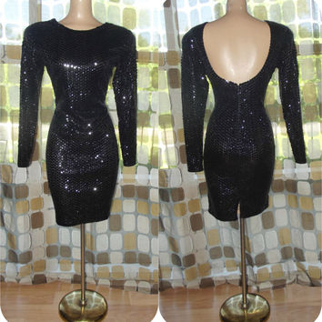 Vintage 80s Dress | 1980s Sequin Dress | 1980s Cocktail dress | Black Trophy Dress | Long Sleeve | Open Back | Mini Dress | Size 10