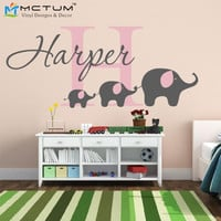 Elephant Wall Decal Custom Name Removable Nursery Wall Decals Vinyl Wall Stickers For Baby Kids Room Decoration Free Shipping