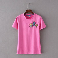SIMPLE - Popular Fashionable Leather Pullover Round Necked Short Sleeve T-shirt b2350