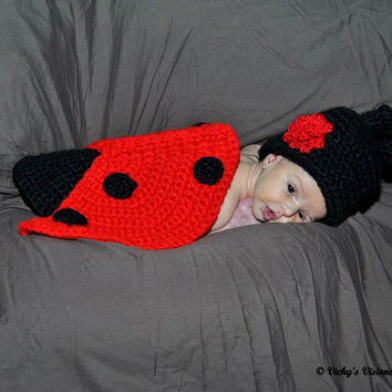 Crochet Newborn Baby Girl Lady Bug Photo Prop- Baby Girl Crochet Items Keep Sake
