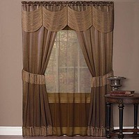 Ben&Jonah Collection Halley 6 Piece Window Curtain Set - 56x84 - Taupe