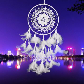 White Lace Flower Dreamcatcher Wind Chimes Indian Style Feather Pendant Dream Catcher for home Car wall decorations Ornament