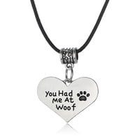 Love Heart Paws Print Dog Tag You Had Me At Woof Leather Chain Beads Charm Pendant Necklace For Women Men Jewelry Choker Collar