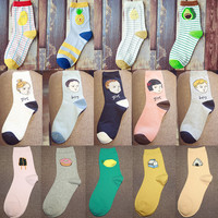 New Summer Fashion Women Novel Food Fruit Sweet Series avocado Cute Cotton Cheap Socks Kawaii Child's face Pattern Long Socks