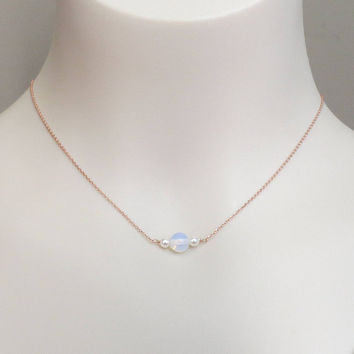Moonstone, Twin pearls, Gold, Silver, Rose gold, Beaded necklace, Lovers, Friends, Mom, Sister, Gift