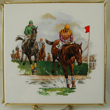 Vintage Mid Century Ceramic Horse Derby Steeplechase Tile Trivet - Set of 4