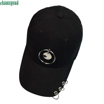 Elegant Nobility Fashion Metal Ring Baseball Cap Unisex Snapback Hip Hop Hat Cap For Women Men Feb 27