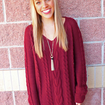 Vneck cable knit tunic