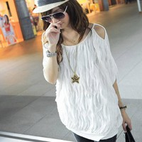 Buy Wave Pattern Out-Off-Shoulder T-shirt with cheapest price wholesale-dress.net