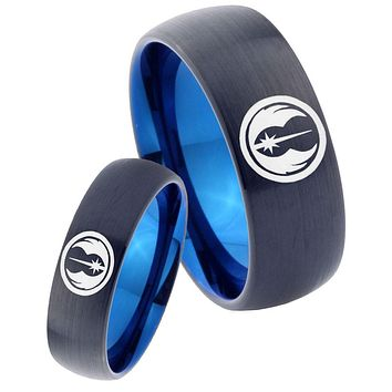His Hers Star Wars Jedi Dome Tungsten Carbide Blue Promise Ring Sets