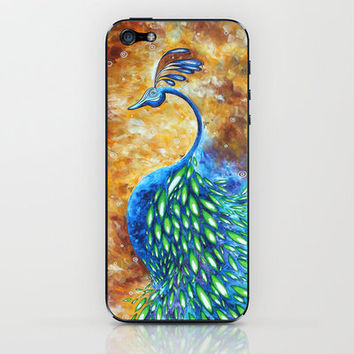 Jewel Tone Peacock Bird Art Original Abstract Whimsical Painting MADART iPhone & iPod Skin by Megan Aroon Duncanson ~ MADART | Society6