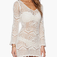 White Long Sleeve Crochet Mini Cover-up