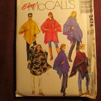 Sale Uncut 1999 McCall's Sewing Pattern, 2474! Small/Medium/Large/Women's/Misses/Rain Ponchos/Shawl Ponchos/Overthrow/Rectangular/Loose Fitt