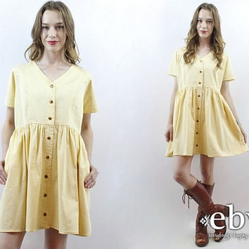 Yellow Dress 90s Babydoll Dress Summer Dress Cotton Dress Pale Yellow Dress Pastel Dress 1990s Dress 90s Dress 90s Mini Dress M L