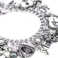 Black Pearl Day of the Dead Charm Bracelet