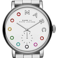 Women's MARC BY MARC JACOBS 'Baker' Crystal Index Bracelet Watch, 37mm - Silver