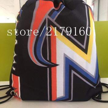 35*45 cm knitted polyester Miami Marlins custom drawstring backpack Metal Grommets