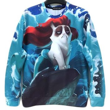 Grumpy Cat as Ariel Mermaid Graphic Print Unisex Pullover Sweatshirt Sweater | Gifts for Cat Lovers