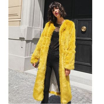 2017 Solid color Yellow Hairy Shaggy Faux Fur Coat High quality 2017 Woman O Neck Faux Fur Long Coats Warm Outerwear