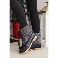 Inclined To You Lace Up Duck Boots (Black)