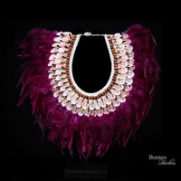 Magenta Real Feather Collar Necklace, New Guinea. Burlesque Drape Gothic Fetish Enchanted Charm Feathers-Pink Curled Shell, Brown Wood Bead