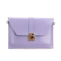 Purple Envelope Clutch Bag with Metal Lock