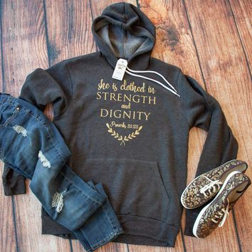 She is Clothed in Strength and Dignity Premium Hoodie