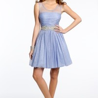 Glitter Mesh Dress with Pleated Bodice