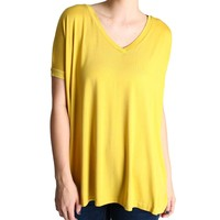 Mustard Piko V-Neck Short Sleeve Top