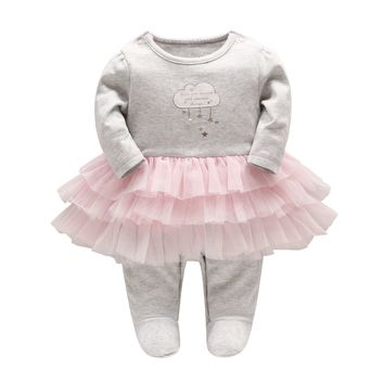 2018 New Spring Baby Girl Romper Newborn Baby Girl Fluffy Skirt Jumpsuit Girls Cotton Long-sleeve Cloud Star Embroidery Clothes