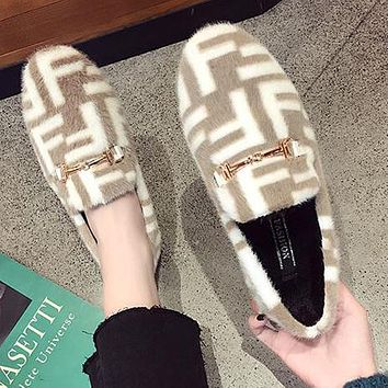 FENDI Autumn Winter Trending Women Stylish F Letter Suede Low Heel Warm Single Shoes Khaki
