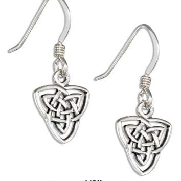 STERLING SILVER CELTIC DOUBLE TRINITY KNOT EARRINGS