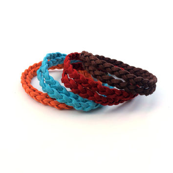 Suede Wrap Bracelet // Braided Boho Friendship